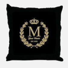 Monogrammed Wreath & Crown Throw Pillow