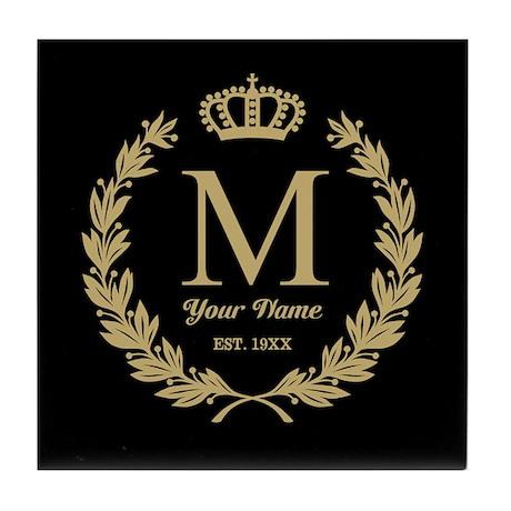 monogrammed wreath  u0026 crown tile coaster by giftcy