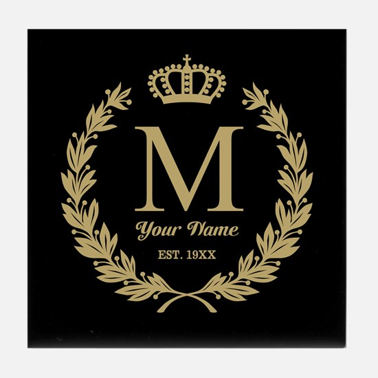 Monogrammed Wreath & Crown Tile Coaster