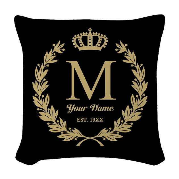 Linen Monogram Throw Pillow: Monogrammed Wreath & Crown Woven Throw Pillow By Giftcy