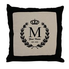 Monogrammed Wreath & Crown Throw Pillow