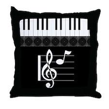 Piano Etude in Black Throw Pillow