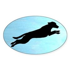 Dock Jumping Labrador Dog Oval Decal