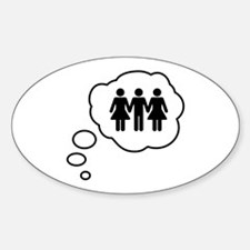 Threesome Thought Bubble Sticker (Oval)