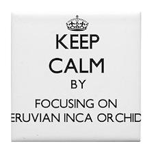 Keep calm by focusing on Peruvian Inc Tile Coaster