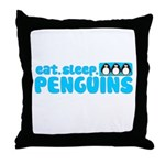 Eat - Sleep - Penguins! Throw Pillow