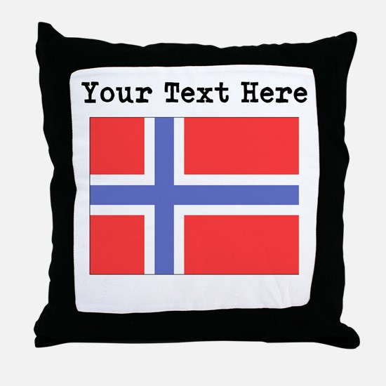 Custom Norway Flag Throw Pillow