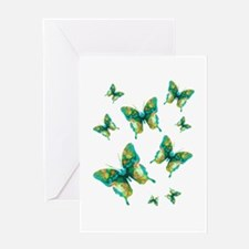 Painted Green Butterfly Greeting Card