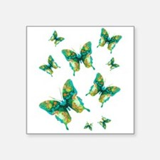 "Painted Green Butterfly Flurry Square Sticker 3"" x"