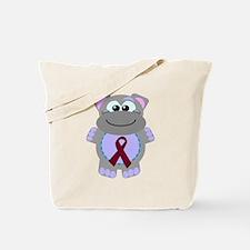 Burgundy Awareness Ribbon Hippo Tote Bag