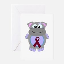 Burgundy Awareness Ribbon Hippo Greeting Cards (Pa