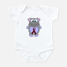 Burgundy Awareness Ribbon Hippo Infant Bodysuit