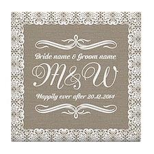 Bride And Groom Monogrammed Tile Coaster