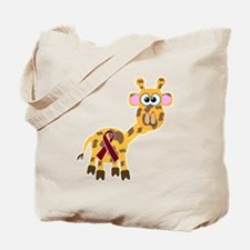 Burgundy Awareness Ribbon Giraffe Tote Bag