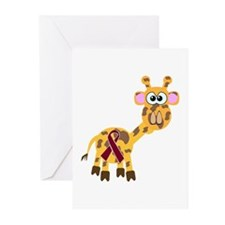 Burgundy Awareness Ribbon Giraffe Greeting Cards (