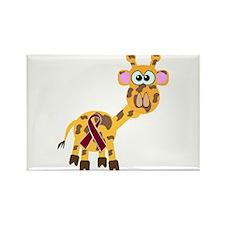 Burgundy Awareness Ribbon Giraffe Rectangle Magnet
