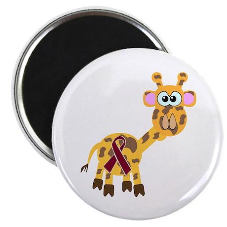 """Burgundy Awareness Ribbon Giraffe 2.25"""" Magnet (10"""