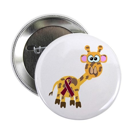 "Burgundy Awareness Ribbon Giraffe 2.25"" Button (10"