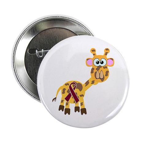 Burgundy Awareness Ribbon Giraffe Button