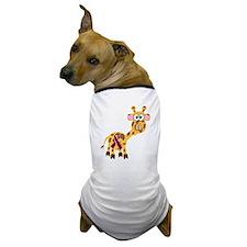 Burgundy Awareness Ribbon Giraffe Dog T-Shirt