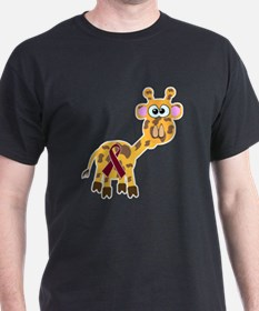 Burgundy Awareness Ribbon Giraffe T-Shirt