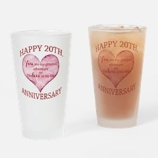 20th. Anniversary Drinking Glass