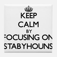 Keep calm by focusing on Stabyhouns Tile Coaster
