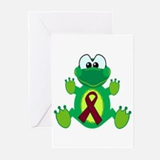 Burgundy Awareness Ribbon Frog Greeting Cards (Pac