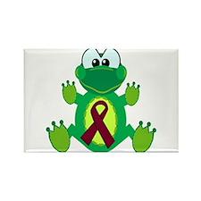 Burgundy Awareness Ribbon Frog Rectangle Magnet