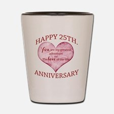 25th. Anniversary Shot Glass