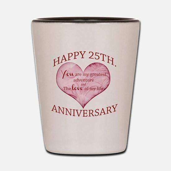 25th. Anniversary Shot Glass