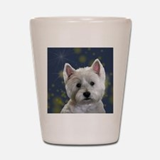 Cute West highland terrier christmas Shot Glass
