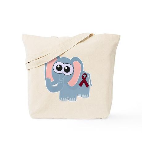 Burgundy Awareness Ribbon Elephant Tote Bag