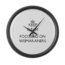 Keep calm by focusing on Weimaran Large Wall Clock