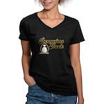 Penguins Rock Women's V-Neck Dark T-Shirt