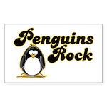 Penguins Rock Rectangle Sticker