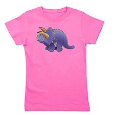 Purple Triceratops Dinosaur Girl's Tee