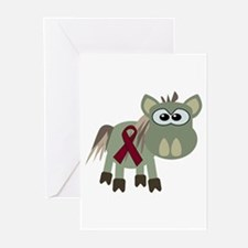 Burgundy Awareness Ribbon Donkey Greeting Cards (P