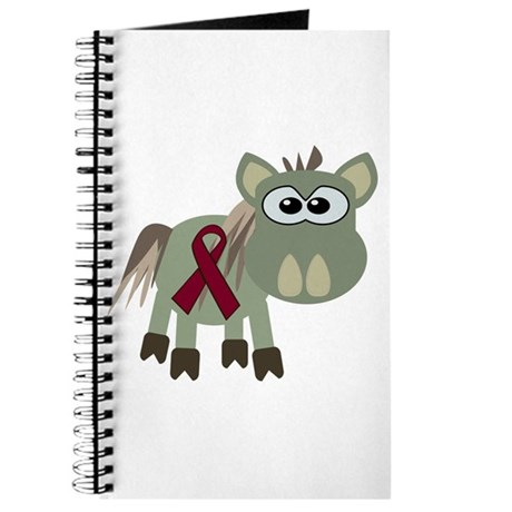 Burgundy Awareness Ribbon Donkey Journal