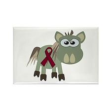 Burgundy Awareness Ribbon Donkey Rectangle Magnet