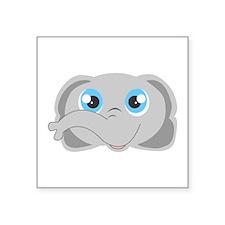 "Cute Elephant Head Cartoon Square Sticker 3"" x 3"""