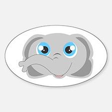 Cute Elephant Head Cartoon Sticker (Oval)
