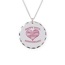 30th. Anniversary Necklace Circle Charm