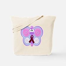Burgundy Awareness Ribbon Butterfly Tote Bag