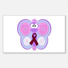 Burgundy Awareness Ribbon Butterfly Decal