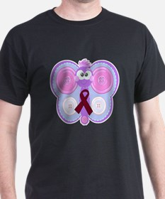 Burgundy Awareness Ribbon Butterfly T-Shirt