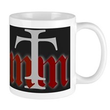 three merry men red on black Mug