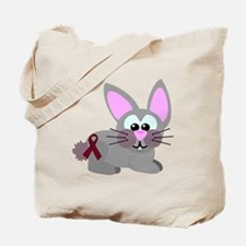 Burgundy Awareness Ribbon Bunny Rabbit Tote Bag