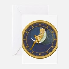 ! ONCE IN A BLUE MOON CLOCKx.png Greeting Cards (P