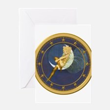 ! ONCE IN A BLUE MOON CLOCKx.png Greeting Card